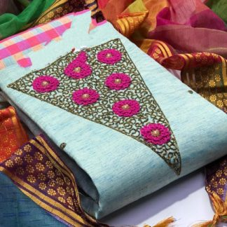 Glorious Light Blue Linen Cotton Chex Salwar Suit And Banarasi With Jari Weaving Border In Multicolour Dupatta For Women-VT1087103D