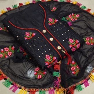 Classy Black Heavy Cotton With Embroidered Work Salwar Suit For Party Wear-VT1015102D