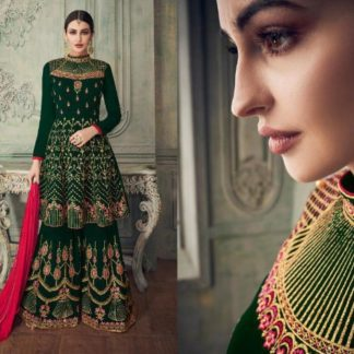 Dark Green Designer Fox Georgette Heavy Embroidered Work Semi Stitched Suit And Georgette Heavy Plazo For Wedding Wear-SHIV101A