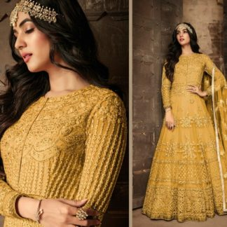 Fantastic Yellow Heavy Net With Embroidered Work Designer Semi Stitched Wedding Wear Suit-VTSRITEX101A
