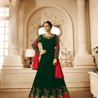Demanding Green Colored Designer Faux Georgette With Embroidered Work Semi Stitched Suit For Wedding Wear-VT3048105A