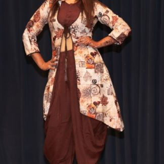 Attractive Brown Heavy Rayon With Digital Print Three Dhoti Set For Party Wear-ARYADRESSMAKER111B