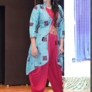 Pink & Blue Heavy Rayon With Digital Print Three Set Of Dhoti For Party Wear-ARYADRESSMAKER111D