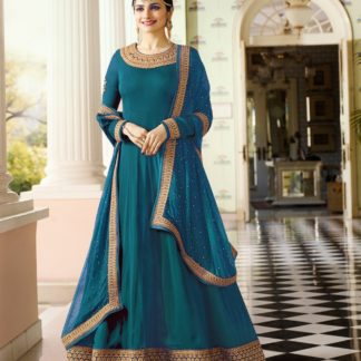 rama color georgette embroidered semi stiched anarkali suit_