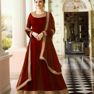 maroon georgette embroidered semi stiched party wear anarkali salwar suit