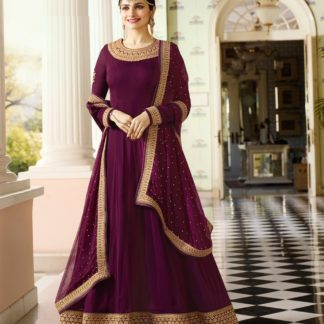 purple color georgette embroidered semi stiched party wear anarkali salwar suit (1)
