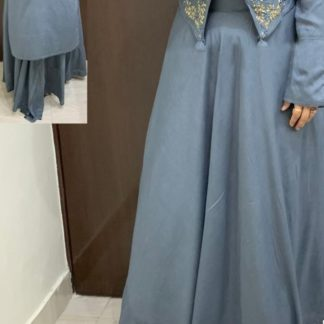 Beautiful Grey Colored Rayon With Hand Work High-Low Crop Top With Skirt With Stylish Sleeves & Hand Work in Front For Wedding Wear-VT2123105B