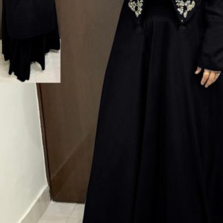 Classy Black Colored Designer Rayon With Hand Work High-Low Crop Top With Skirt With Stylish Sleeves & Hand Work in Front For Women-VT2123105D