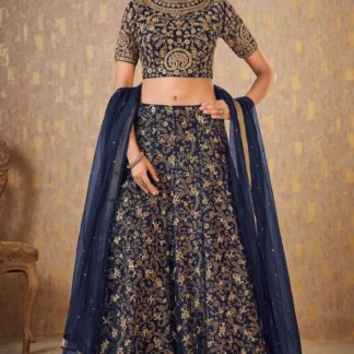 Delightful Blue Colored Heavy Mulberry Silk With Heavy Thread Sequence Dori Embroidered Work Designer Lehenga Choli-JINIFASHION104B
