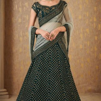 Lovely Green Colored Mulberry Silk With Embroidered Sequence Thread Dori Work Lehenga Choli-JINIFASHION104E