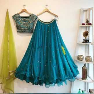 Blue color Georgette Silk Embroidered work Lehenga Choli for women-RC51