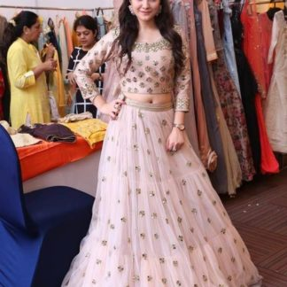 Pretty Peach Colored Net With Embroidered Work Lehenga Choli For Wedding Wear-VT1159DVD102A