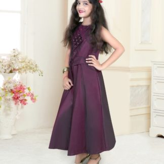 Beautiful Wine Colored Taffeta Satin With Inner Back Chain Designer Gown For Girl-VT2123106A