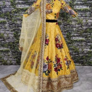 Trendy Yellow Colored Satin Silk Digital Print With Heavy Embroidered Work Lehenga Choli For Wedding Wear-VT1159DVD9034A