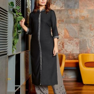 Black & Grey Colored Heavy Rayon Kurti And Plazo Full Stitched For Party Wear