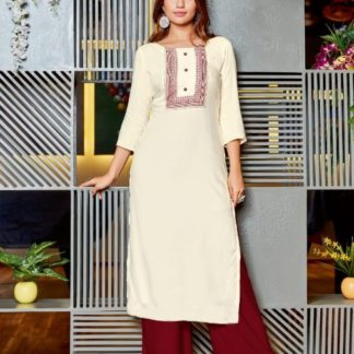 Cream & Maroon Rayon Print Embroidered Work Kurti And Plazo Ready Made For Women