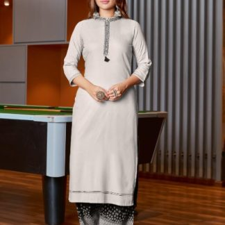Trendy White & Black Heavy rayon Print Embroidered Work Kurti And Plazo Ready Made For Women