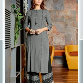 Grey & Black Heavy Rayon Print Embroidered Work Kurti And Plazo Ready Made For Party Wear