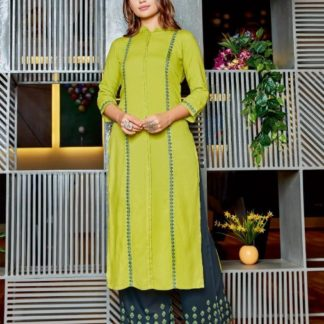 Green & Blue Heavy Rayon With Embroidered Stitched Kurti And Plazo For Women