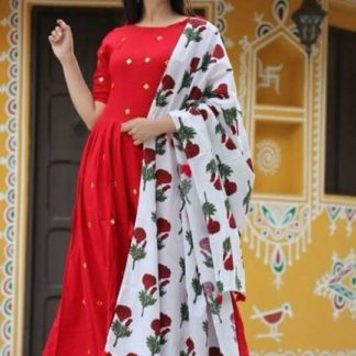 Unbelievable Red Colored Rayon Cotton With Embroidered Work Ready Made Salwar Suit With Ready Made Plazo For Function Wear