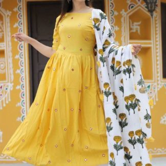 Wonderful Yellow Colored Rayon Cotton With Embroidered Work Full Stitched Dress And Ready Made Rayon Cotton With Elastic Plazo
