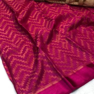 Wondrous Pink Colored Braso Soft Silk Saree And Running Blouse For Women
