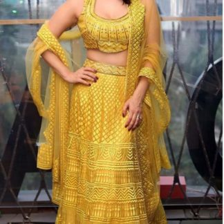 Well Favoured Yellow Colored Net With Chain Stitch Work Semi Stitch Lehenga Choli for Party Wear