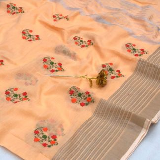 Beauteous Light Orange Linen Cotton With Embroidered Work In Tassels Pallu Saree And Running Blouse for Wedding Wear