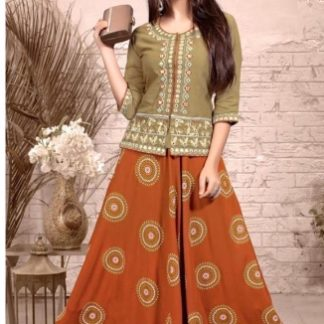 Arresting Orange & Grey Colored Heavy Rayon With Embroidered Work Skrit And Top for Function Wear