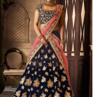 Adorable Navy Blue Colored Velvet Silk With Embroidered Work Lehenga Choli for Wedding Wear