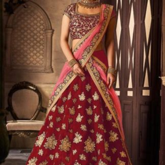Gorgeous Red Colored Velvet Silk With Embroidered Work Designer Lehenga Choli for Wedding Wear