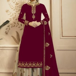 Stunning Pink Satin Georgette With Embroidered Work Plazo Salwar Suit for Wedding Wear