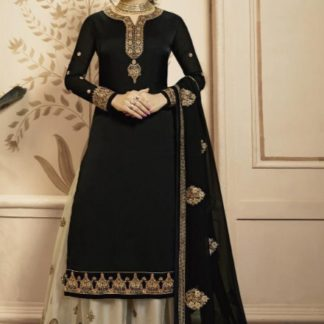 Gorgeous Black Satin Georgette Embroidered Work Salwar Suit And Japan Satin Plazo for Party Wear