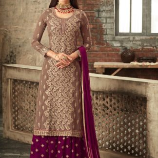 Winning Brown & Pink Heavy Georgette Embroidered Sharara Salwar Suit for Occasion Wear