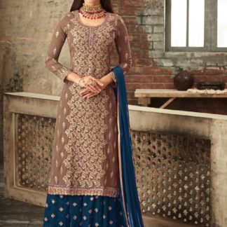 Captivating Brown & Rama Blue Georgette Embroidered Multi Stone Work Sharara Salwar Suit for Wedding Wear