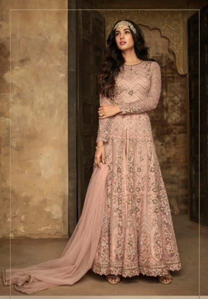 Prominent Peach Designer Net With Aplic Embroidered Stone Work Semi Stitched Salwar Kameez Online in India