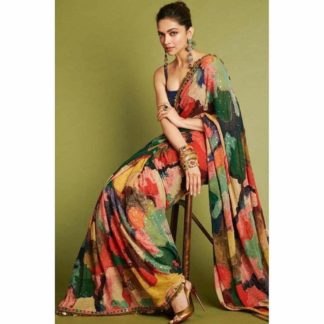 Multi Georgette With Digital Print And Lace Saree And Navy Blue Georgette Blouse in India