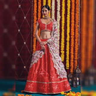 Alluring Red Satin Banglori With Fusion Cancan Net With Embroidered Work Zari Lace Designer Wedding Wear Lehenga Choli in India