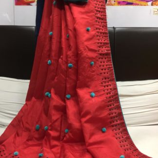 Red & Blue Designer Pure Kashmiri Silk Saree And Beautiful Contrast Banglori Diamond Work Blouse in India