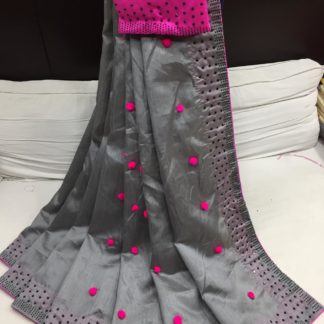 Grey & Pink Pure kashmiri Silk With Pum Pum Stone Work Grand Pallu Saree And Contrast Banglori Diamond Work Blouse in India