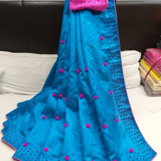 Pink & Blue Pure Kashmiri Silk With Pum Pum Stone Work Rich Pallu Saree And Banglori Contrast Diamond Work Blouse in India