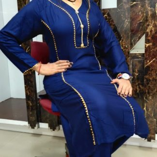 Trendy Royal Blue Rayon Cotton With Cut Paste Designer Kurti And Plazo Rayon Cotton With Samosa Lace Cut Paste in India