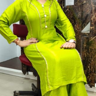 Classy Green Rayon Cotton Designer Samosa Lace Button Kurti And Beautiful Rayon Cotton Samosa Lace Plazo in India