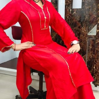Fantastic Red Rayon Cotton With Samosa Lace Button Kurti And Designer Rayon Cotton Samosa Lace Plazo in India