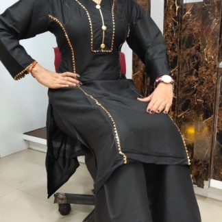 Marvellous Black Rayon With Samosa Lace Button Kurti And Designer Rayon Cotton With Samosa Lace Plazo Full Stitched in India