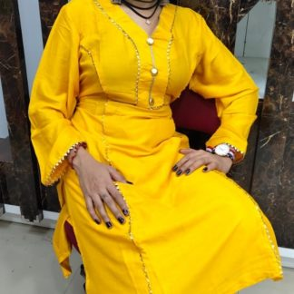 Pretty Yellow Rayon Cotton With Samosa Lace Button Accessories Kurti And Rayon Cotton Samosa Lace Plazo in India