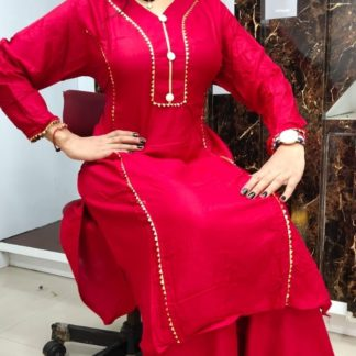 Elegant Pink Rayon Cotton With Samosa Lace Button Accessories Kurti And Designer Rayon Cotton Samosa Lace Plazo in India