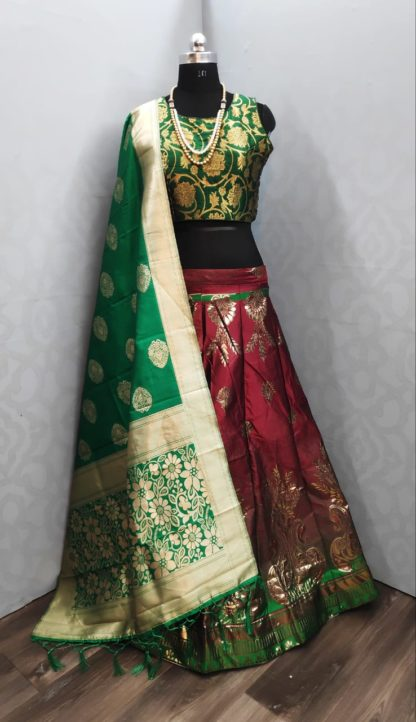 Party Wear Green & Red Stylish Banarasi Lehenga with Ready made Blouse at Best Price in India