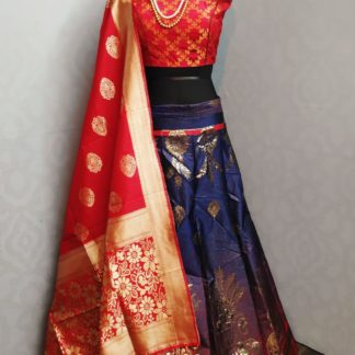 Function Wear Blue & Red Beautiful Banarasi Lehenga with Ready made Blouse at Best Price in India