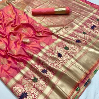Wedding Wear Entrancing Pink Colored kasturi Soft Silk Saree And Silk Blouse at Best Price in India